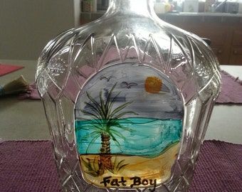 Hand-painted Glass Bottle Lamp