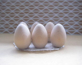 Set of 6 Unfinished Wooden Eggs 1-1/8 inches 2.86 cm Diameter  Half Perfect for DIY Projects, Children's Toys, Craft Supplies, Hardwood