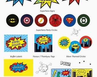 Mix and Match Collection for a Superhero Party / Choose any 4 of the 10 items / Red, Blue & Yellow