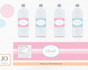 Vintage Lace Water Bottle Label / Vintage Lace Party - INSTANT DOWNLOAD