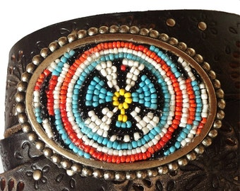 Native American Beadwork Belt Buckle - Bohemian Buckle-  Turquoise, White, Red Black, Yellow Seed Beads