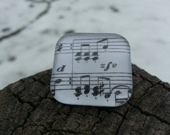Glass Tile Necklace - Music Note
