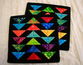 Batik Flying Geese Mug Rugs - Set of Two