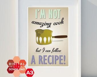 Art for home, Instant Printable Download, vintage poster, kitchen, Cathrineholm, scandinavian design, print,Typographic poster, A3