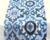 Navy Blue, Denim Blue and Light Blue Ikat Linen Table Runner