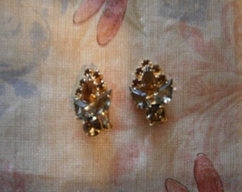 SALE! Fall Colored Rhinestone Earrings 1960s Clip-Back Was 17.50 Now 15.00
