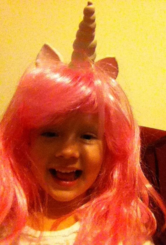 Unicorn Costume Child Kid Pink Wig Unicorn Horn My Little Pony Cosplay Children Custom