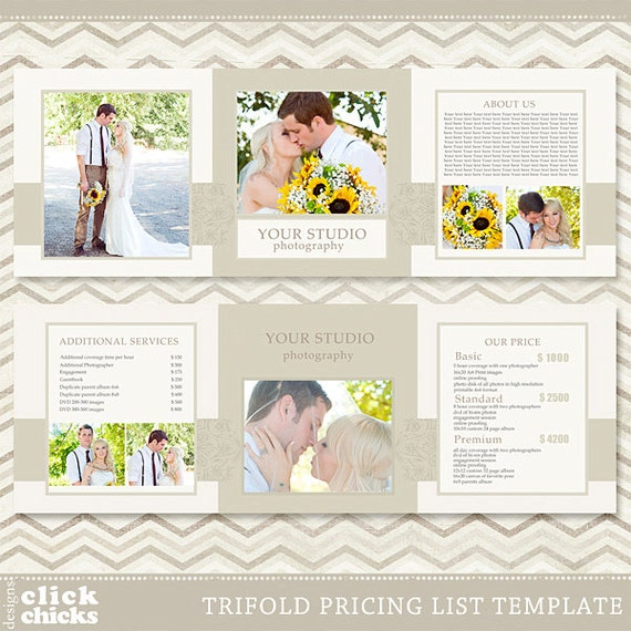 Trifold Pricing List Template Photography Pricing Guide - Price list brochure template