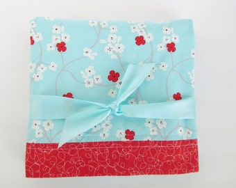 Aqua Blanket with White and Red Flowers, White Soft Minky Dot Blanket