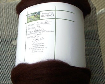 REDUCED: Pin drafted Alpaca rovings in a dark brown 8.25 oz