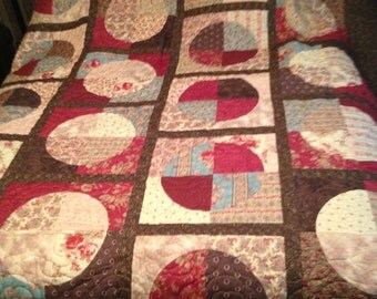 Queen Size quilt. Oriental.  Asian influenced bedding. Curves. Modern. Teal, Rose and Brown #Q101