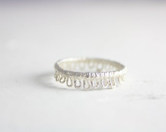Sterling silver lace ring, silver ring, statement ring, stacking ring, tatting ring, lace ring, ring, jewelry, summer, gift for her, holiday