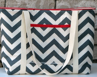 Gray Chevron Canvas Large Tote Bag with Red Accents-Made to Order, Custom