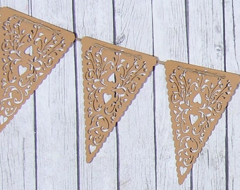 Kraft Valentines Heart Banner - Heart Banner - Heart Garland - Heart Bunting - Kraft Banner - Burlap Banner - Wedding Photo Prop - Nursery