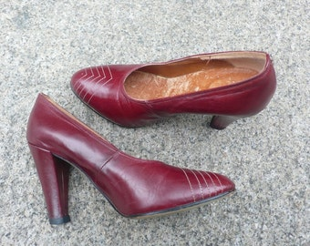 1970s Oxblood Leather Heels by Upstage