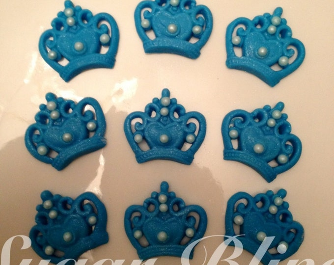 One dozen blue crowns with pearls.
