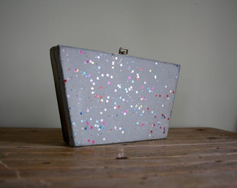 Vintage 1950s Confetti Clutch Purse or Jewelry Box