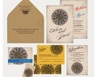 Indian Wedding Invitation: Ornate Medallion with Rhinestones