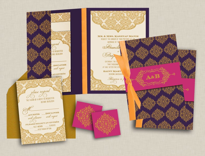 Contemporary Jewels Indian Wedding Invitations Purple and