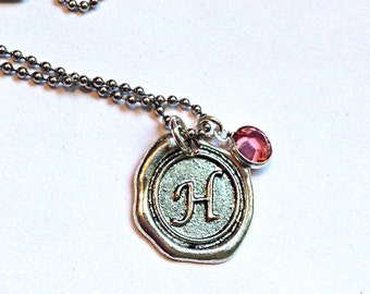 SALE Vintage Wax Seal Initial Pendant with Swarovski Crystal Birthstone