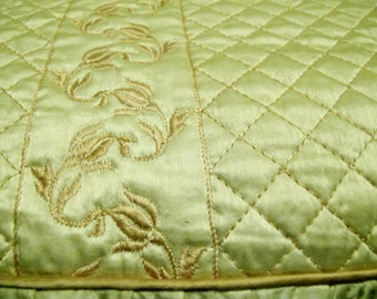 Satin Bedspread Quilted Bedspread Yellow Double Bedspread Satin Queen Hollywood Regency 1940 Bedspread