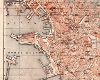 1928 Genova, Italy, Antique Map, City Plan, Genoa, Italia, Mappa, Comune di Genova, Liguria, Mediterranean Sea, Vintage Lithograph