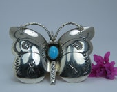 Vintage  Native  American turquoise butterfly pin by N. Silago
