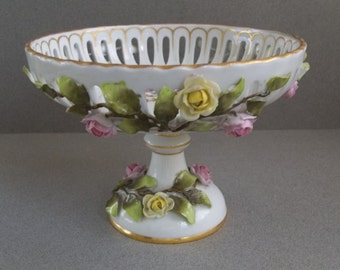 Dresden Encrusted Flower Compote - Dresden Porcelain Compote - Reticulated Dresden Compote - Dresden Floral Compote - Ring Dish