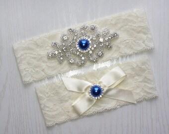 SALE - RACHEL III - Royal Blue Pearl Wedding Garter Set, Wedding Ivory Stretch Lace Garter, Rhinestone Crystal Bridal Garters
