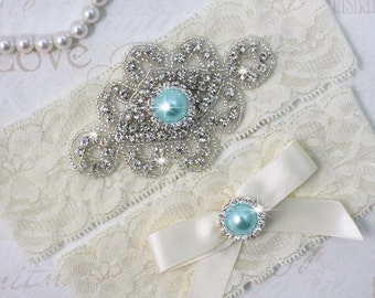 ZANNA - Aqua Blue Pearl Wedding Garter Set, Ivory Lace Garter, Rhinestone Crystal Bridal Garters, Something Blue