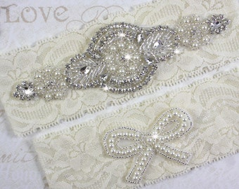 SALE - PRISCILLA - Wedding Pearl Garter Set, Wedding White And Ivory Stretch Lace Garter, Rhinestone Crystal Bridal Garters