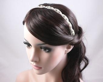 RAMONA - Vintage Inspired Crystal And Pearl Bridal Headband, Wedding Rhinestone Head band, Bridal Headpiece, Halo, Bohemian