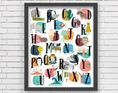 Home Decor Nursery Wall Art - Watercolor Alphabet Print - 16x20