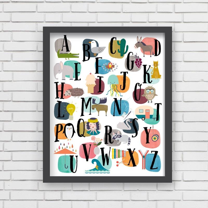 Home decor nursery wall art watercolor alphabet print 8x10 for Alphabet mural nursery