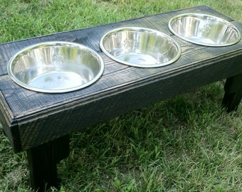 "Reclaimed rustic pallet furniture dog bowl stand with 2 quart bowls. 30""l x 12"" w x 12""t ebony finish"