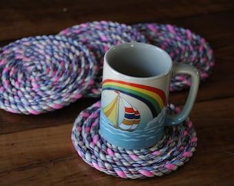 Nautical Decor - Cotton Rope Coasters (set of 4)