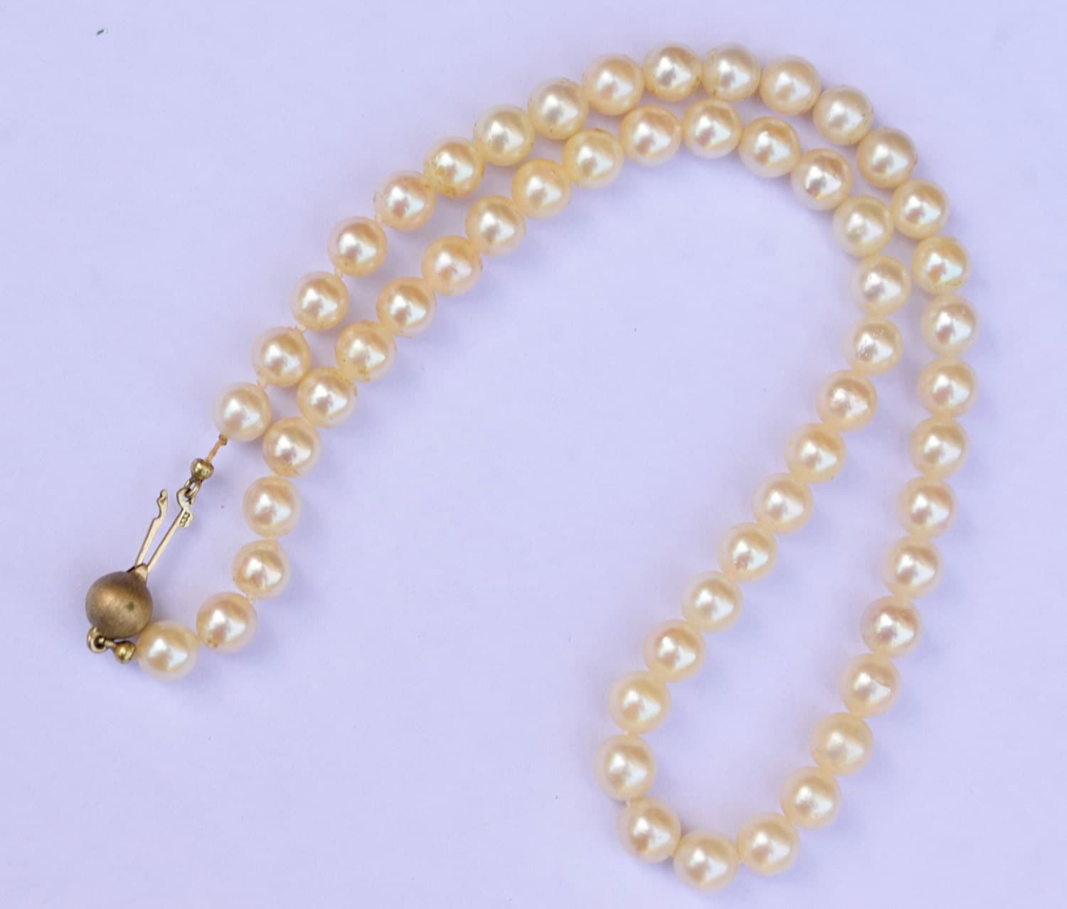 Vintage Pearl Choker Necklace: Vintage Pearl Necklace With 9c Gold Clasp / Vintage Pearls