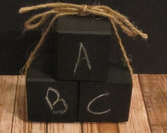 "3 Chalkboard Blocks --- 2'' x 2"" Wood Blocks, Chalkboard"