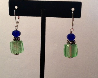 Peridot Dichroic Bead Dangle Earrings