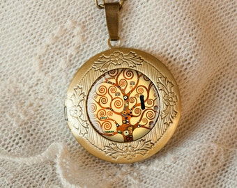 "G.Klimt  ""Tree of Life"" locket necklace, pendant, best friend perfect gift,bff"