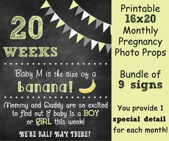 printable pregnancy countdown chalkboard photo prop sign set