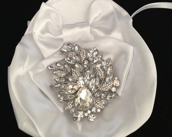 Bridal Money Bag, Satin Evening Bags, Wedding Purse, Swarovski Crystals