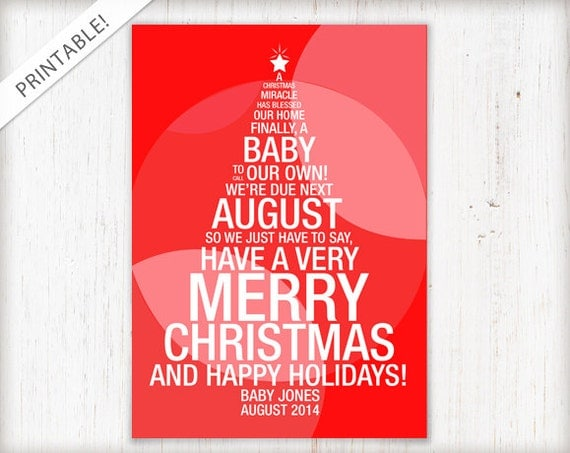Christmas Tree Pregnancy Announcement Red Holiday Card New