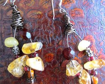 One of a Kind Citrine,Garnet,and Coral Loop Earrings