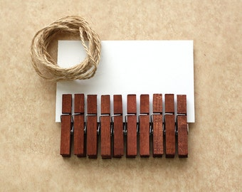 Small Clothespins Set of 10 Hand Dyed - Chestnut / Brown