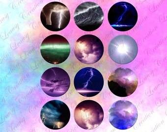 Image digitale pour cabochon rond 25mm, Orage, climat, nuage, pour cabochon, clipart, cabochon epoxy, bijoux artisanaux, loisirs créatifs