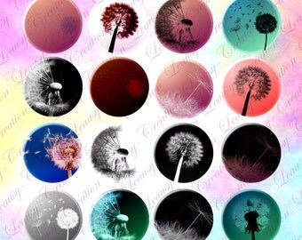 """dandelion, digital download cabochon, 1 inch circle image, craft supplies and tools,digital collage, digital collage sheet, 1"""" round image,"""