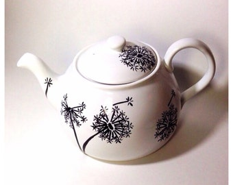 Hand Painted Tea Pot - Dandelion Wishes 48 oz (6 cup) Porcelain TeaPot Hand Painted