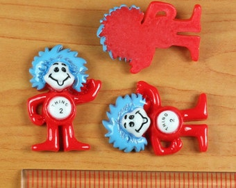 2/3/5 pc Cat In The Hat Thing 2 Resin Flat back Cabochon Hair Bow Center