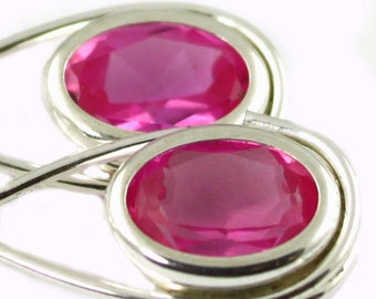 Created Pink Sapphire, 925 Sterling Silver Leverback Earrings, SE008